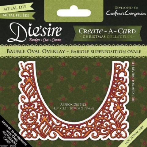 Die'sire Create A Card Accordion Die - Bauble Oval Overlay